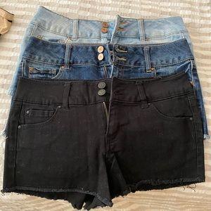 Three pairs of jean shorts